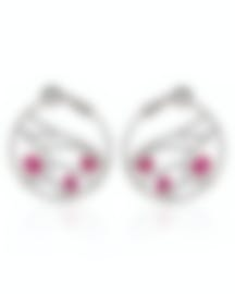 Image 1 of Damiani Battito D'ali 18k White Gold Diamond 1.793ct And Ruby Earrings 20060912