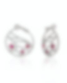 Image 2 of Damiani Battito D'ali 18k White Gold Diamond 1.793ct And Ruby Earrings 20060912