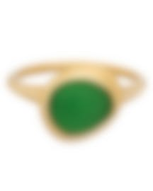Image 1 of Fred Of Paris 18k Yellow Gold And Chrysoprase Belle Rives Ring Sz5.75 4B0922-051-1