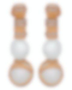 Fred Of Paris 18k Gold Diamond 0.73ct Pearl Baie De Anges Earrings 8J0231-000