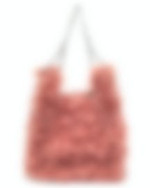 "Image 1 of HAYWARD ""Mini Chain Bag"" Pink Mohair Tote Bag - HLH-00596F81"