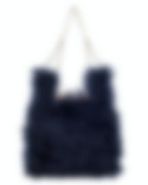 "Image 1 of HAYWARD ""Mini Chain Bag"" Navy Mohair Tote Bag - HLH-00597F81"
