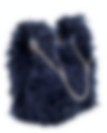 "Image 2 of HAYWARD ""Mini Chain Bag"" Navy Mohair Tote Bag - HLH-00597F81"