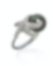 Image 1 of Mikimoto 18k White Gold Diamond 1.10ct And Black South Sea Pearl Ring Sz 6.5